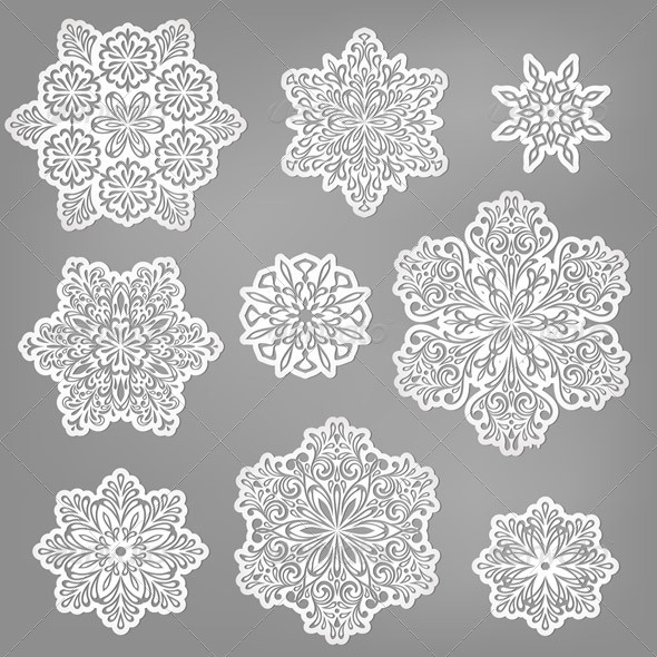 GraphicRiver Vector Paper Cut Snowflakes 6183852