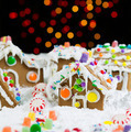 Night Time Lights behind Gingerbreadh Houses during the Holidays - PhotoDune Item for Sale