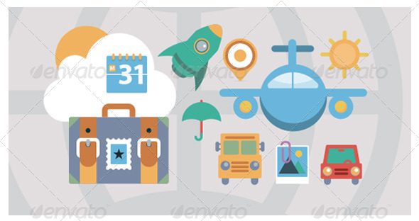 GraphicRiver Flat Icons Travel and Transport Elements 6185511