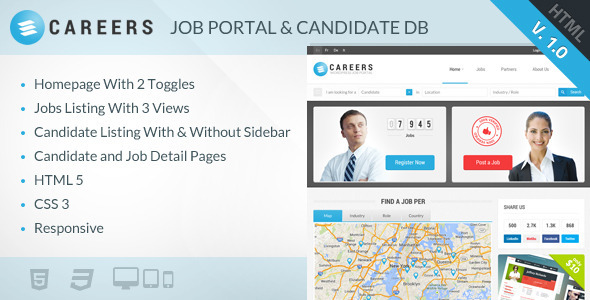 ThemeForest CAREERS Job Portal & Candidate Database HTML 6184051