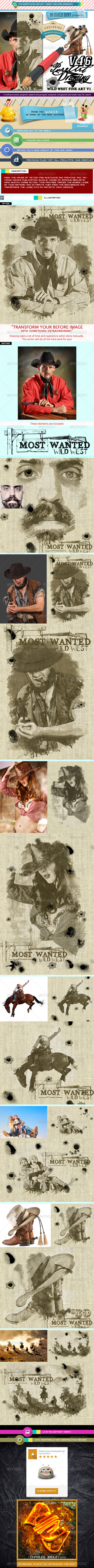 Pure Art Hand Drawing 46 – Wild West Fine Art v1 - Photo Effects Actions