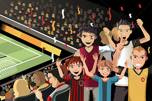 GraphicRiver Soccer Fans in Stadium 6185726