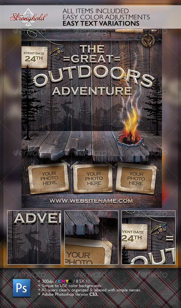GraphicRiver Vintage Outdoor Camping Adventure Flyer 6187054