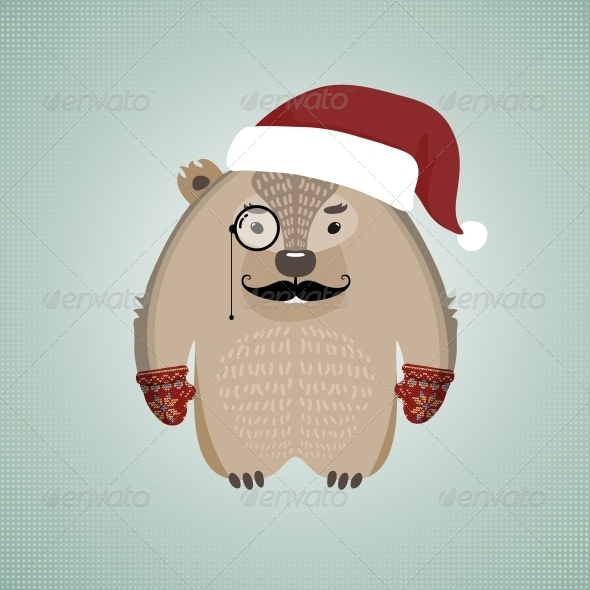 GraphicRiver Funny Hipster Wombat Wearing Santa s Hat 6187146
