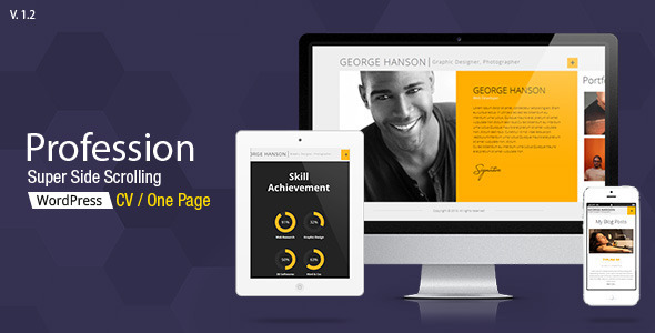 Profession - One Page CV Responsive Theme - Personal Blog / Magazine