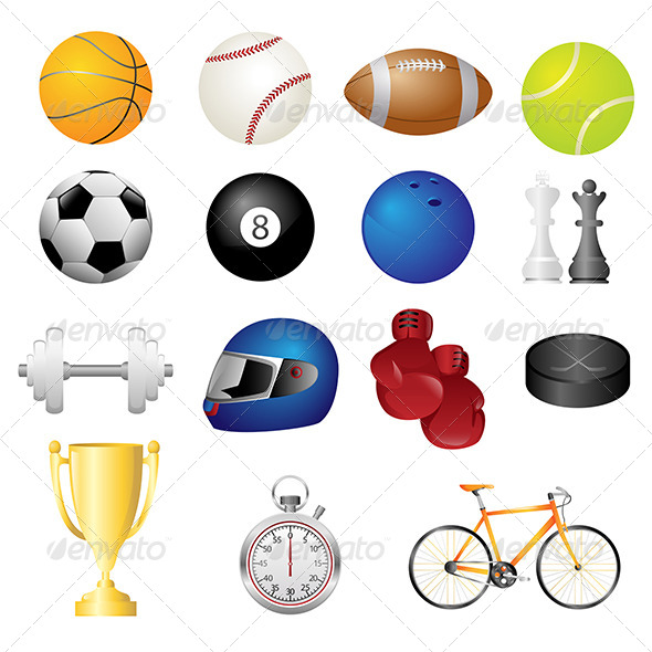 GraphicRiver Sport Items Icons 6187393
