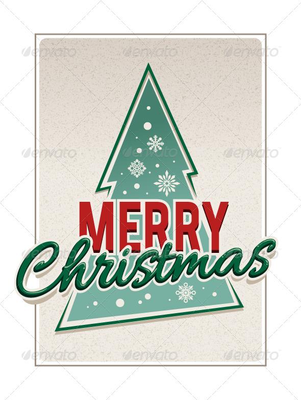 GraphicRiver Retro Merry Christmas Typography 6188518