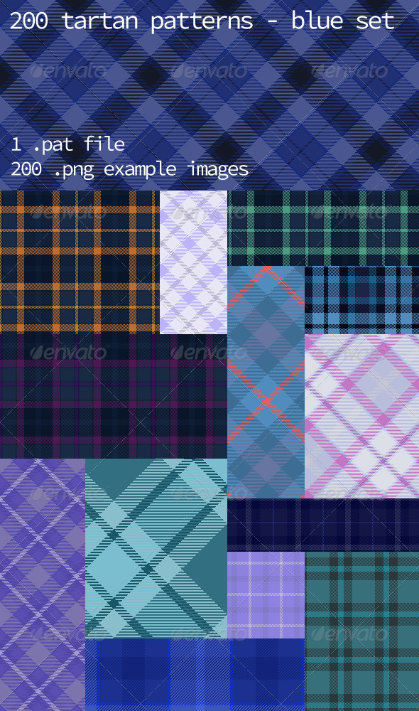 GraphicRiver Tartan Pattern Collection Blue set 6188708