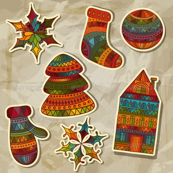 GraphicRiver Vector Christmas Stickers Design Elements 6188771