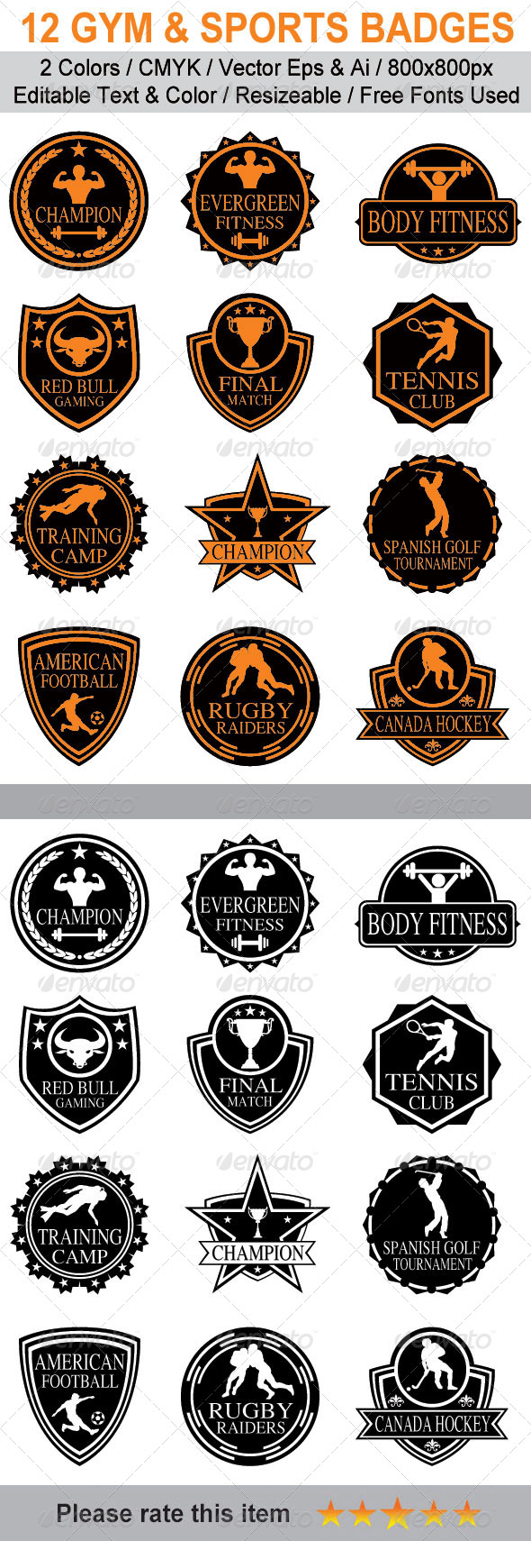 GraphicRiver Gym & Sports Vintage Badges 6191025