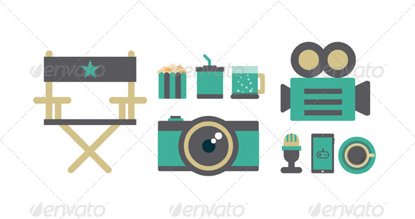 GraphicRiver Flat Icons Elements of Film 6185483