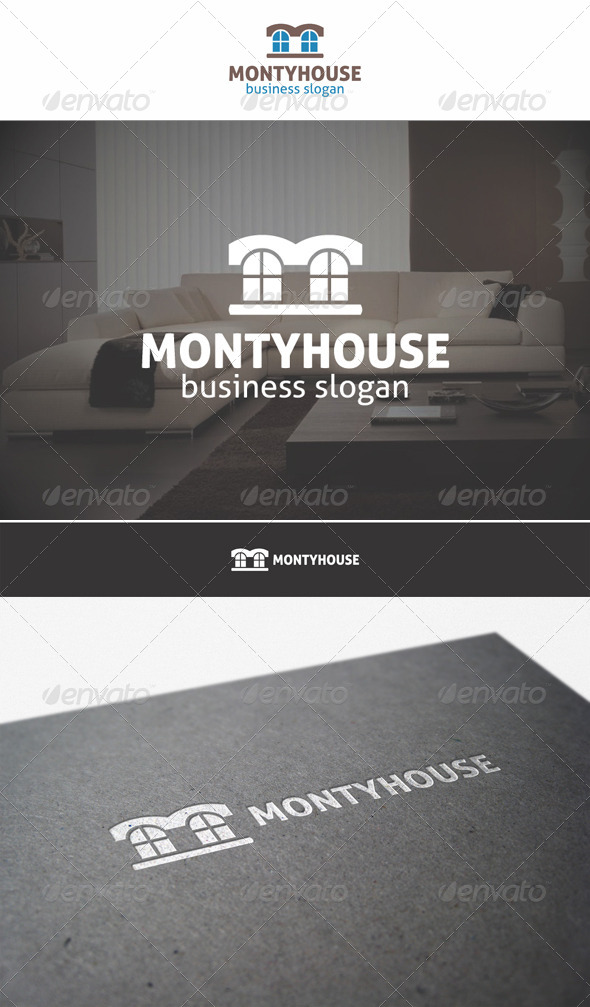 Monty House Building Logo - Buildings Logo Templates
