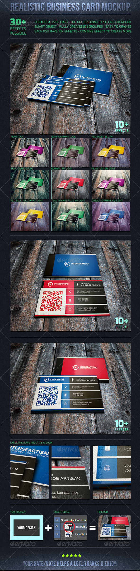 GraphicRiver Realistic Business Card Mockups Set 04 6192162