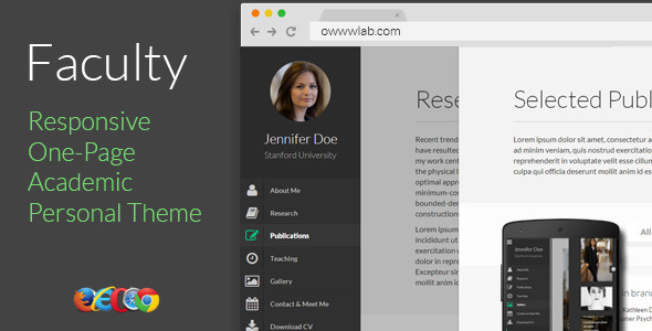 Faculty - Responsive Academic Personal Profile - Personal Site Templates