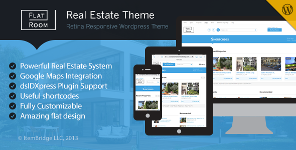 ThemeForest FlatRoom Responsive Real Estate WordPress Theme 6192285