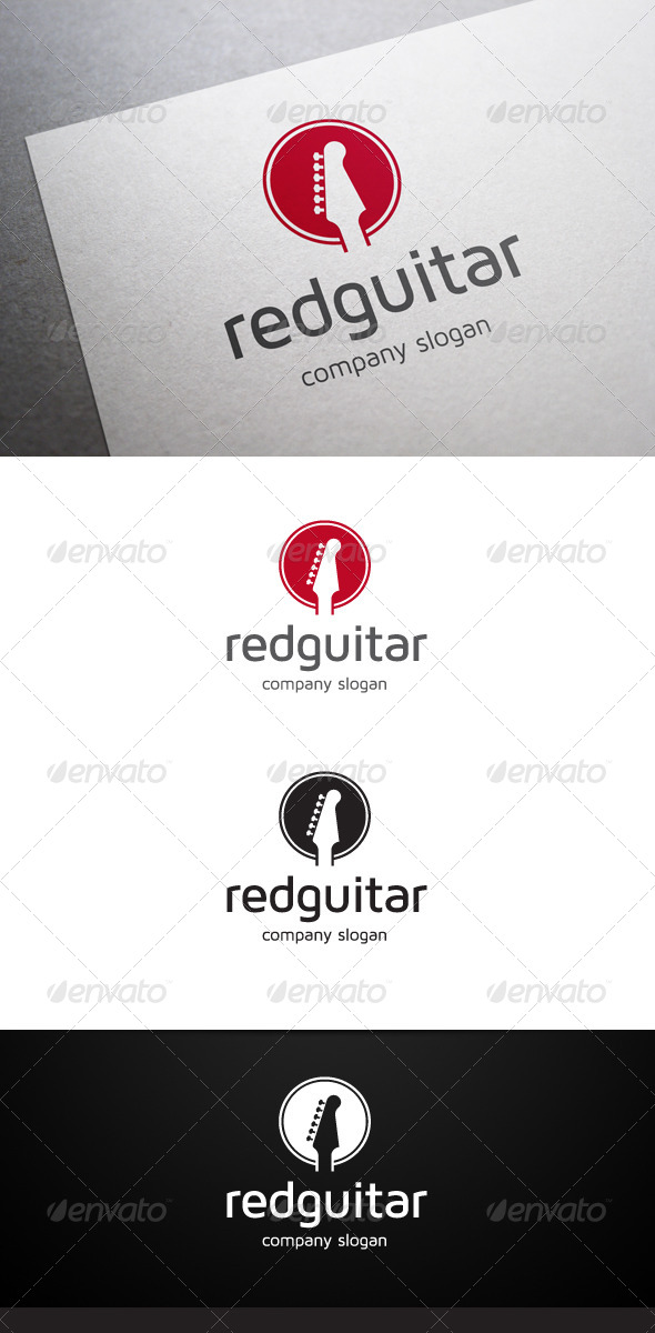 GraphicRiver Red Guitar Logo 6192844