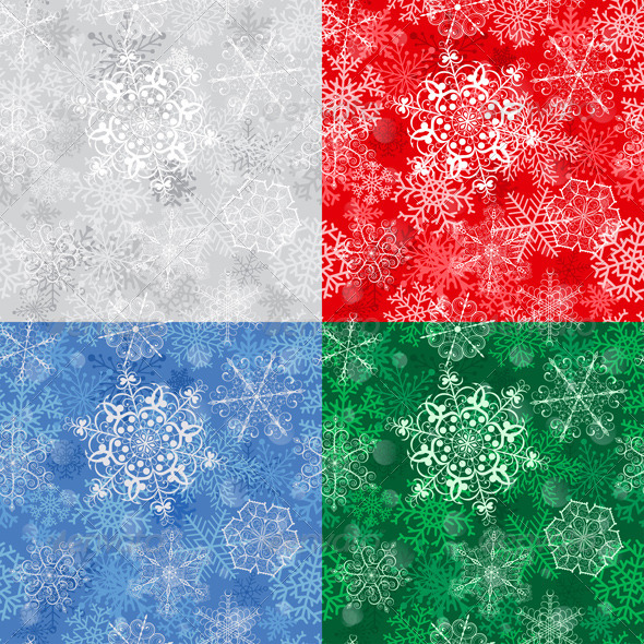 Christmas Seamless Pattern With Snowflakes - Christmas Seasons/Holidays