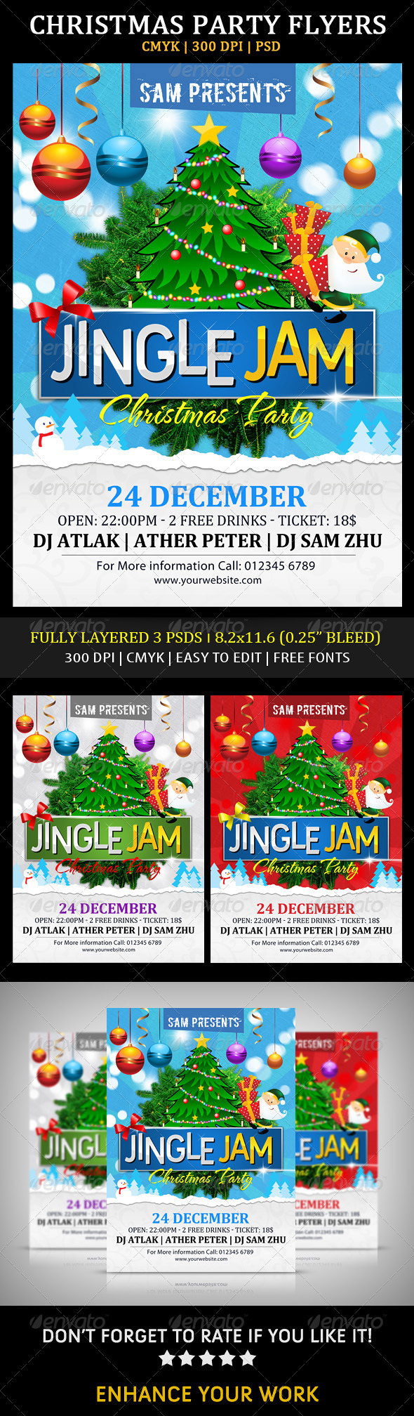 GraphicRiver Jingle Jam Christmas Party Flyers 6136651