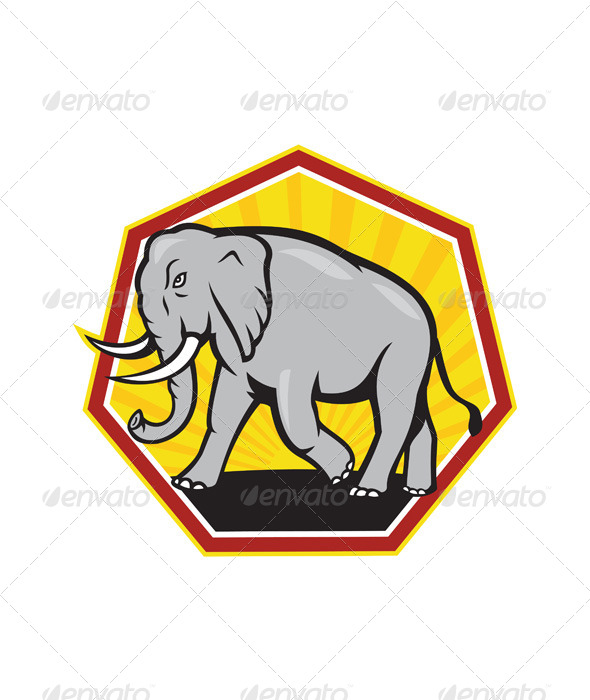 GraphicRiver Angry Elephant Walking Cartoon 6197353