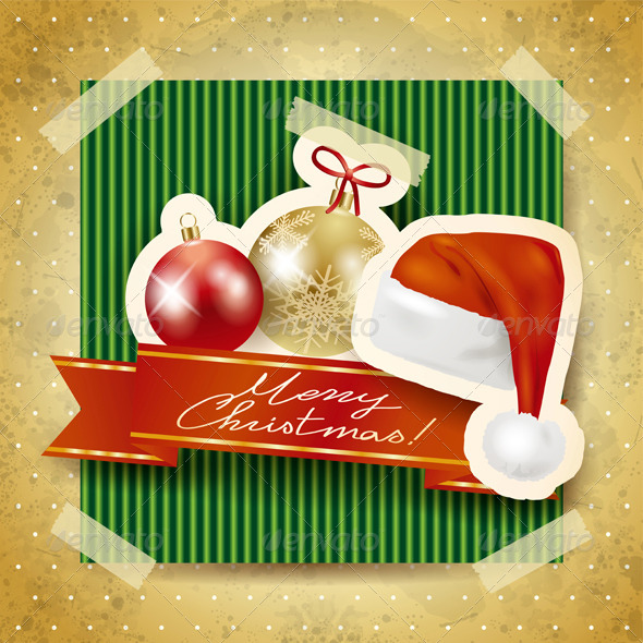 GraphicRiver Christmas Background with Paper Elements 6197378