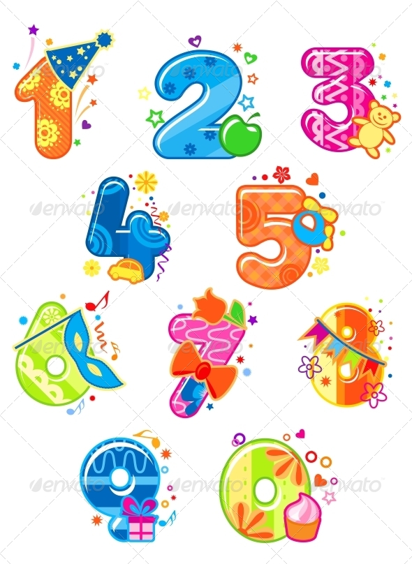GraphicRiver Cartoon Digits and Numbers with Toys 6197788