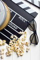 clapperboard with 3d glasses and popcorn - PhotoDune Item for Sale