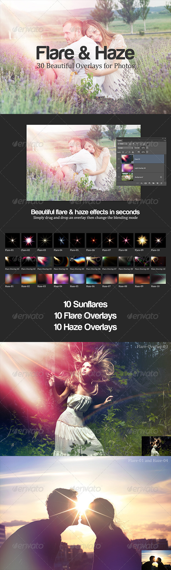 Flare & Haze: 30 Overlays for Photos - Abstract Textures