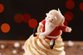 Santa Claus cupcake detail on Christmas background - PhotoDune Item for Sale