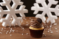 Oreo cupcake on Christmas background - PhotoDune Item for Sale