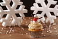 Snowman cupcake on Christmas background - PhotoDune Item for Sale