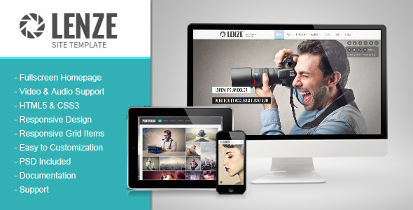 ThemeForest Lenze Responsive Photography Portfolio Template 6201131