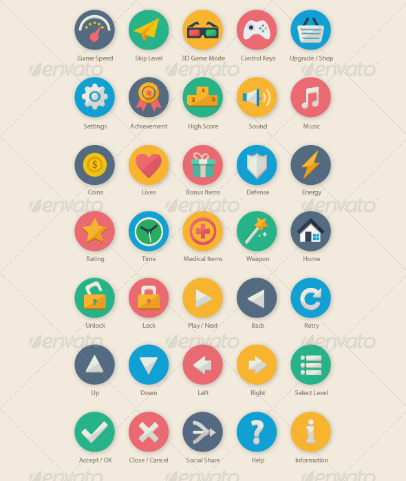 GraphicRiver 35 Cartoon Game UI Icons 6189385