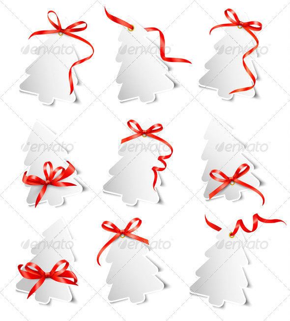 GraphicRiver Set of Gift Cards with Red Gift Bows 6204088