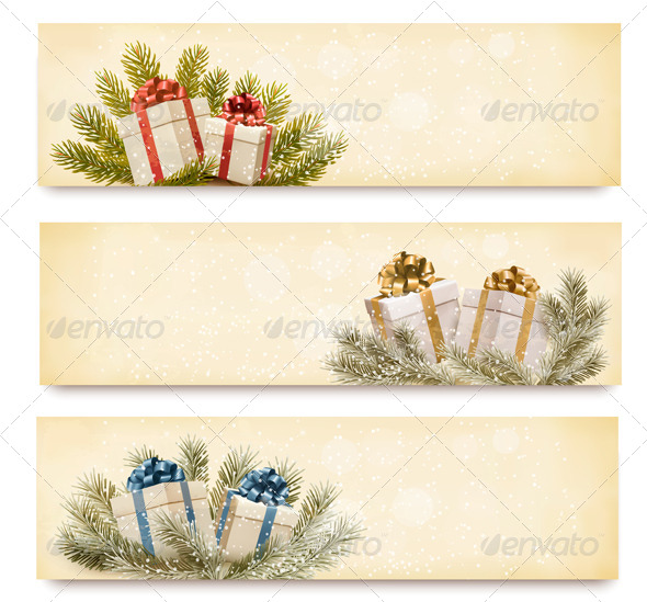 GraphicRiver Three christmas banners with gift boxes and snowfl 6204098