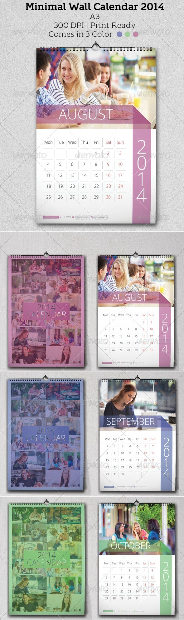 GraphicRiver Minimal Wall Calendar 2014 6204233