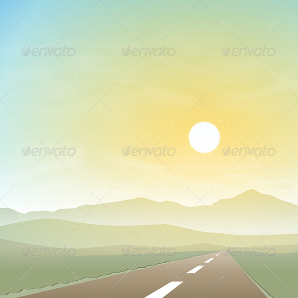 GraphicRiver Misty Landscape with Road 6204239