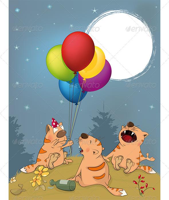 GraphicRiver Cats Celebrates Birthday Cartoon 6204622