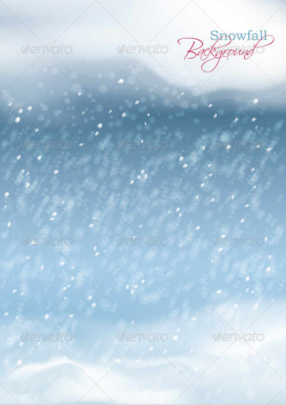 GraphicRiver Vector Abstract Winter Snowfall Background 6207552