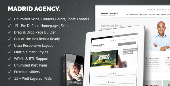 Madrid Retina Multi-Purpose WordPress Theme - Business Corporate