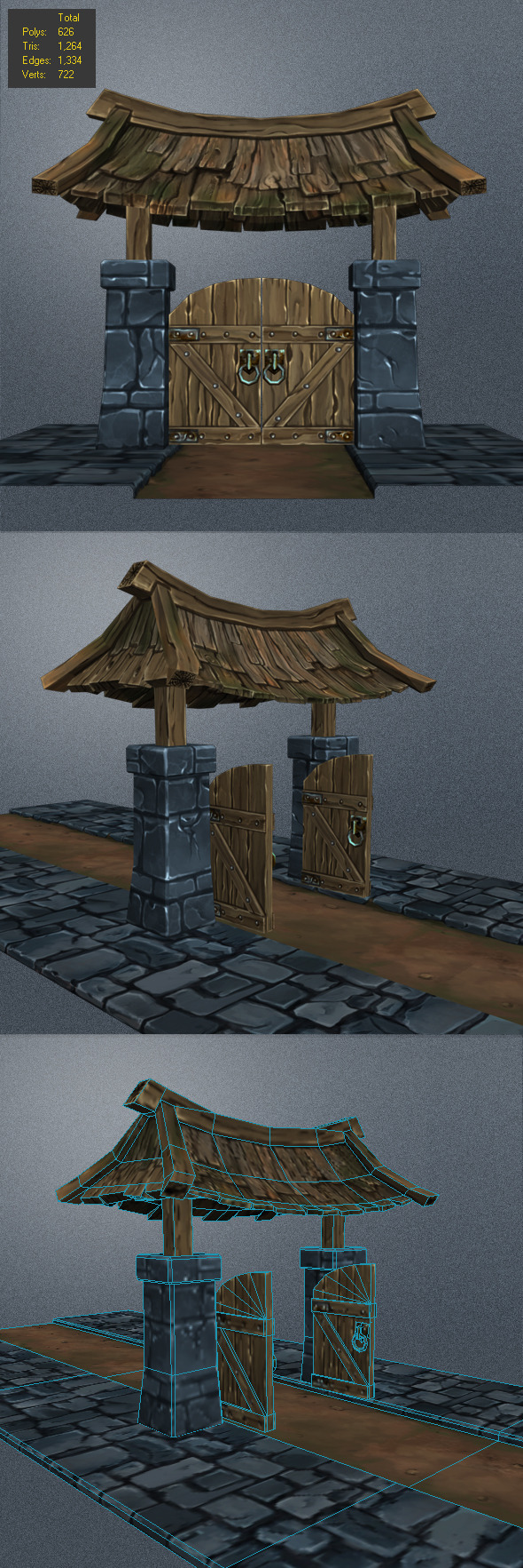 3DOcean Low Poly wood Door 2 6208236
