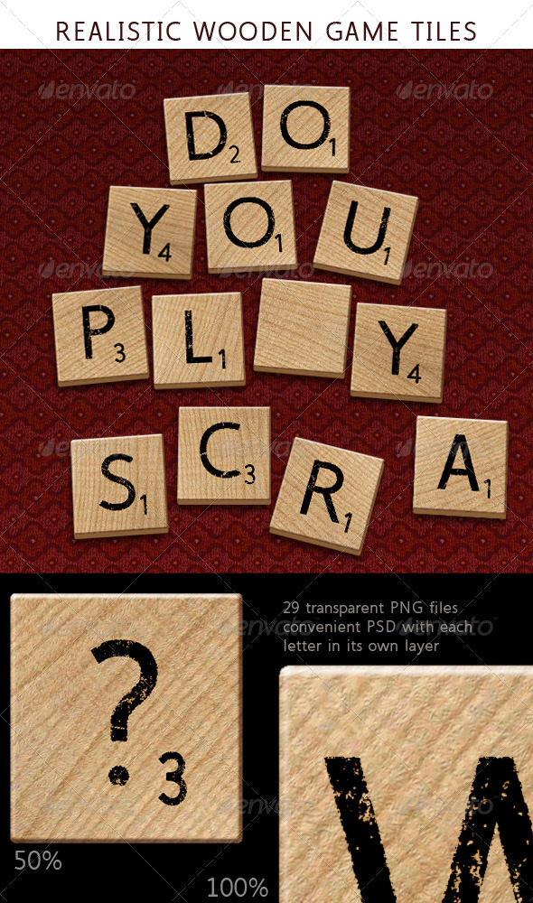GraphicRiver Alphabet Letters on Wooden Tiles 6200390