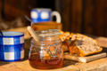Tea, honey and fruit bread on wooden table - PhotoDune Item for Sale