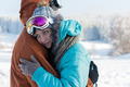 Young couple ski goggles embrace winter snow - PhotoDune Item for Sale