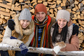 Young people in winter clothes posing outside - PhotoDune Item for Sale