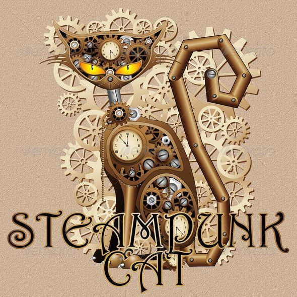 GraphicRiver Steampunk Cat Vintage Style 6208496
