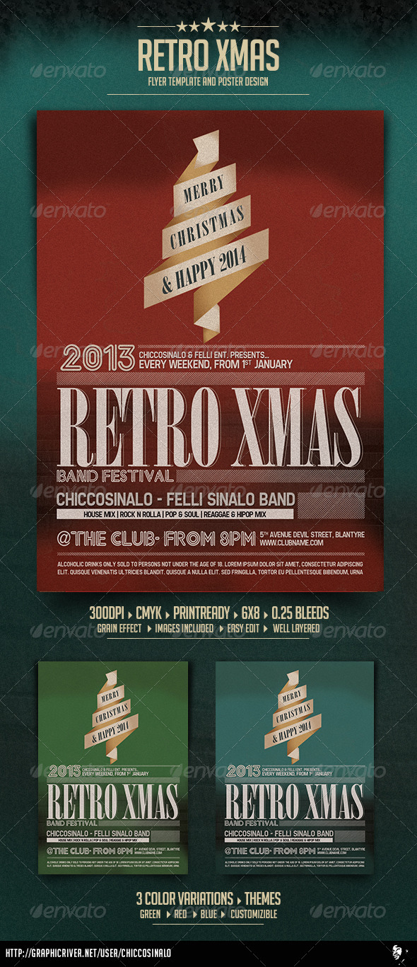 GraphicRiver Retro Christmas Flyer Template 6208833