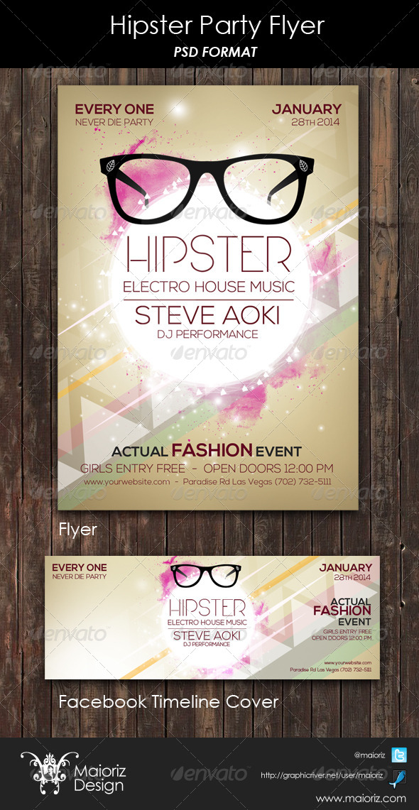GraphicRiver Hipster Party Flyer 6209454