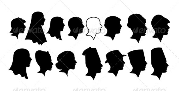 GraphicRiver Ladies and Gentlement Silhouette Heads 6209476