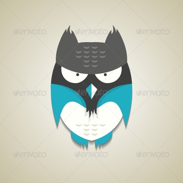 GraphicRiver Little Blue and Grey Cartoon Owl 6209479
