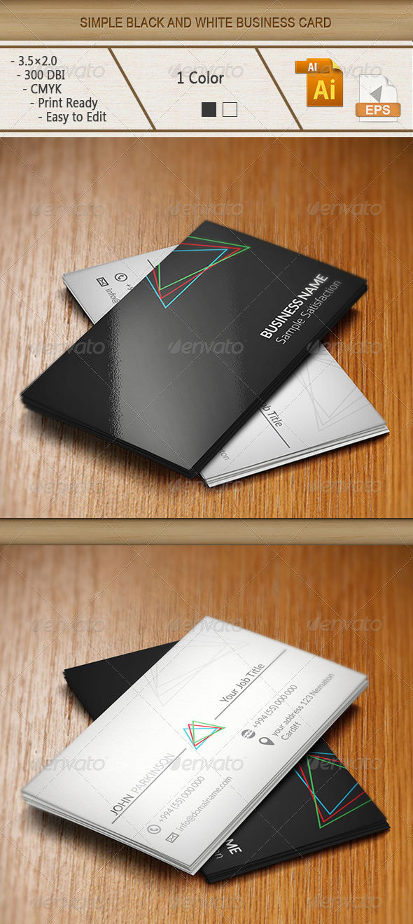 GraphicRiver Simple Black and White Business Card 6209974